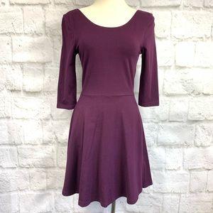 Express 3/4 Sleeve Skater Dress Exposed back Zip